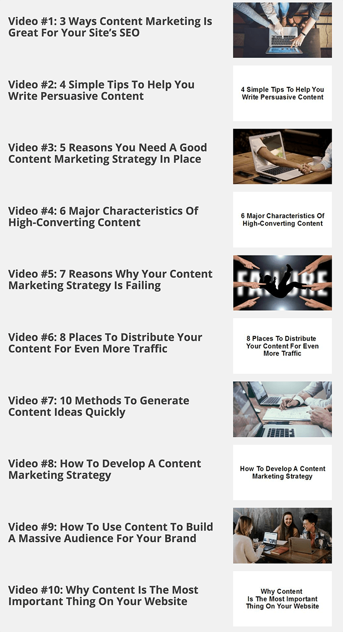 The 30-Day Content Marketing Plan Videos