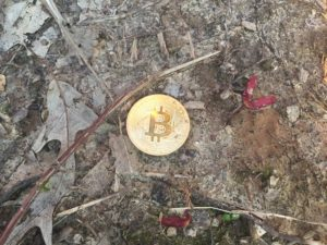 Free Bitcoin Stock Photo in the Dirt